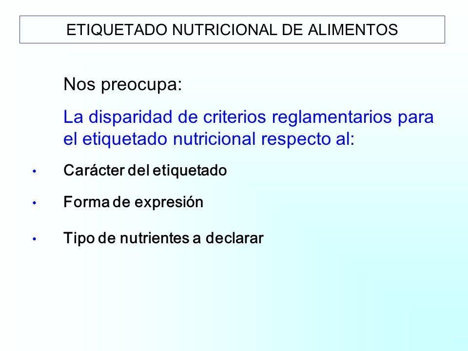 Nos preocupa: La disparidad de criterios reglamentarios para el etiquetado nutricional respecto al: Carácter del etiquetado Forma de expresión Tipo de nutrientes a declarar ETIQUETADO NUTRICIONAL DE ALIMENTOS