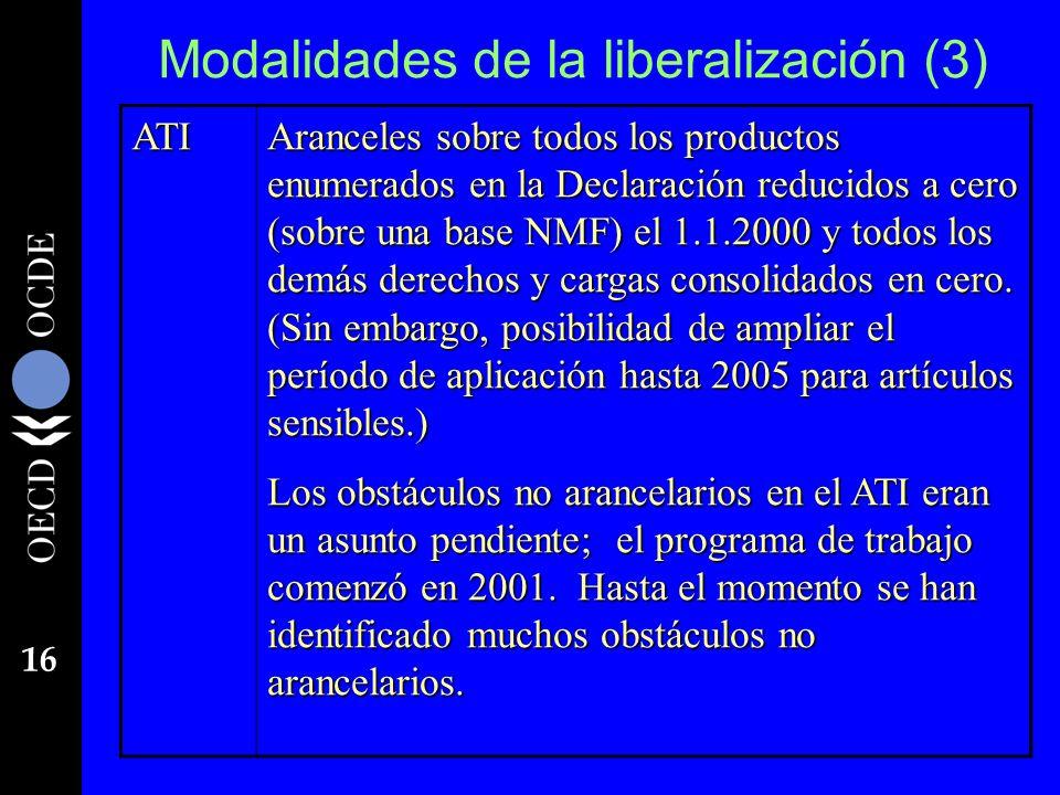 16 Modalidades de la liberalización (3) ATI Aranceles sobre todos los productos enumerados en la Declaración reducidos a cero (sobre una base NMF) el