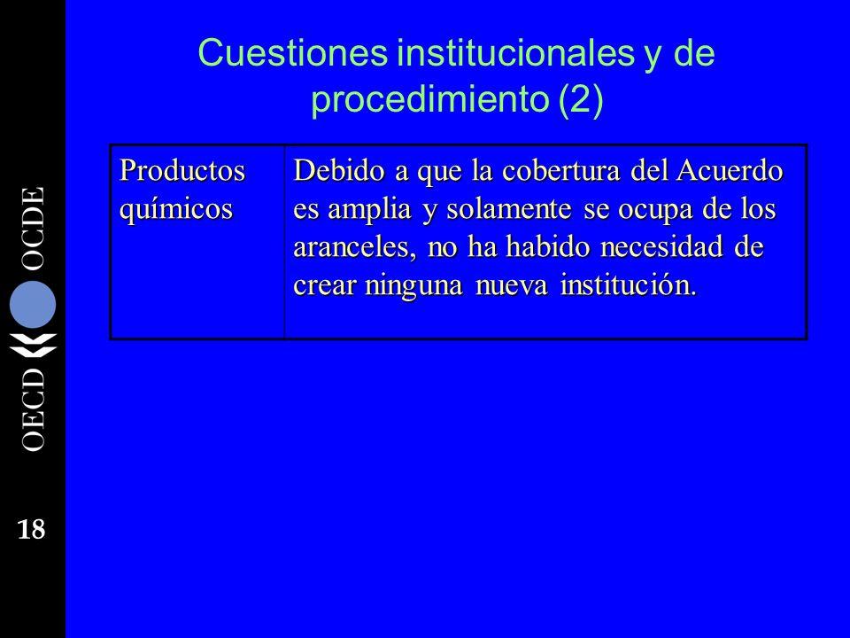 18 Cuestiones institucionales y de procedimiento (2) Productos químicos Debido a que la cobertura del Acuerdo es amplia y solamente se ocupa de los ar