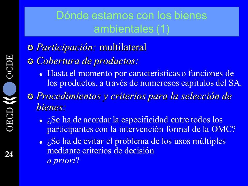 24 Dónde estamos con los bienes ambientales (1) µ Participación: multilateral µ Cobertura de productos: l Hasta el momento por características o funci