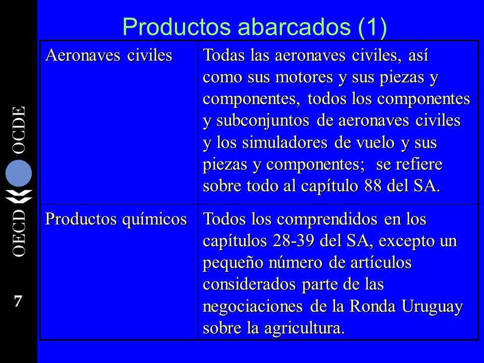 7 Productos abarcados (1) Aeronaves civiles Todas las aeronaves civiles, así como sus motores y sus piezas y componentes, todos los componentes y subc