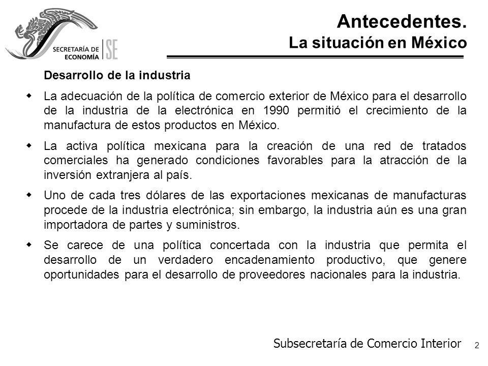 Subsecretaría de Comercio Interior 3 Antecedentes.
