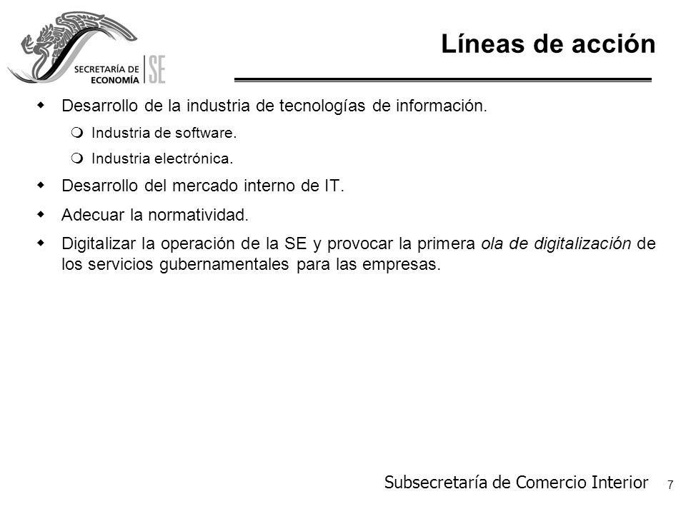 Subsecretaría de Comercio Interior 8 Desarrollo de la IT.