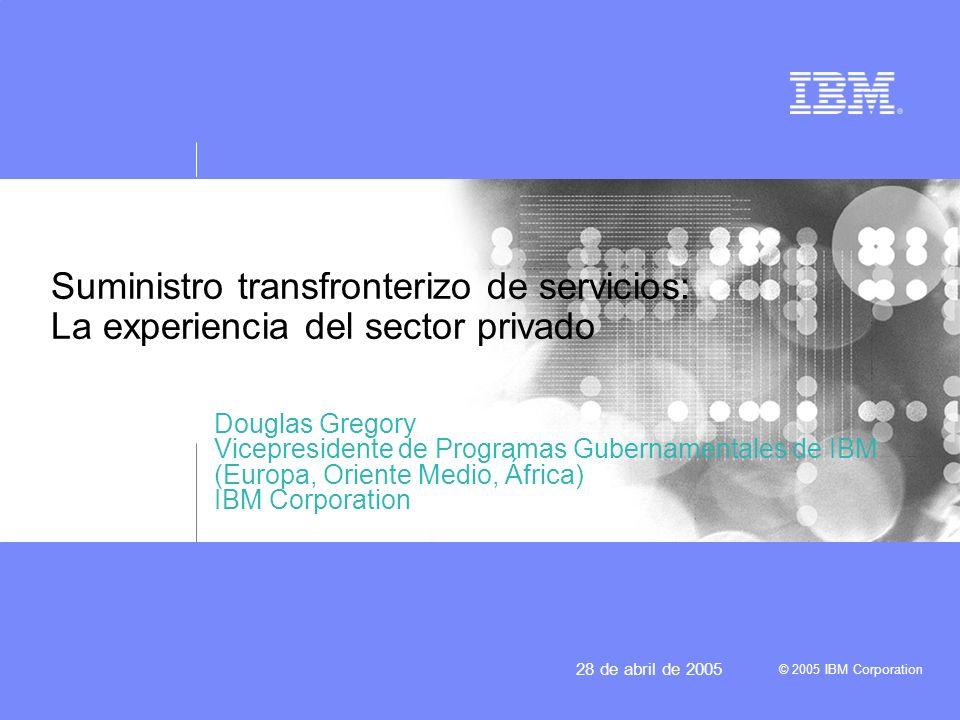 © 2005 IBM Corporation 28 de abril de 2005 IBM hoy Actividades y clientes en más de 160 países 140.00 personas trabajan en los Estados Unidos y 18.000 en otros países Casi el 60 por ciento de los ingresos proceden de otros países distintos de los Estados Unidos Casi la mitad de los ingresos proceden de los servicios Casi dos tercios de los ingresos proceden de los programas informáticos y de los servicios Da servicio a clientes de todo el mundo mediante la red mundial de centros de datos interconectados y los laboratorios de desarrollo de programas informáticos –El suministro transfronterizo de servicios se encuentra en fase de crecimiento