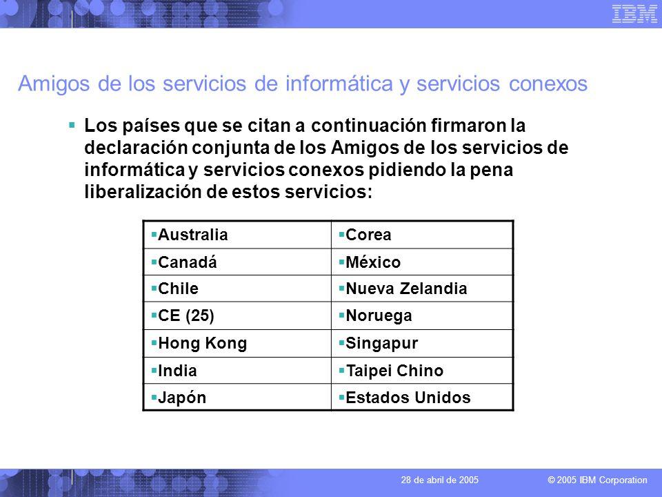 © 2005 IBM Corporation 28 de abril de 2005 Amigos de los servicios de informática y servicios conexos Australia Corea Canadá México Chile Nueva Zeland