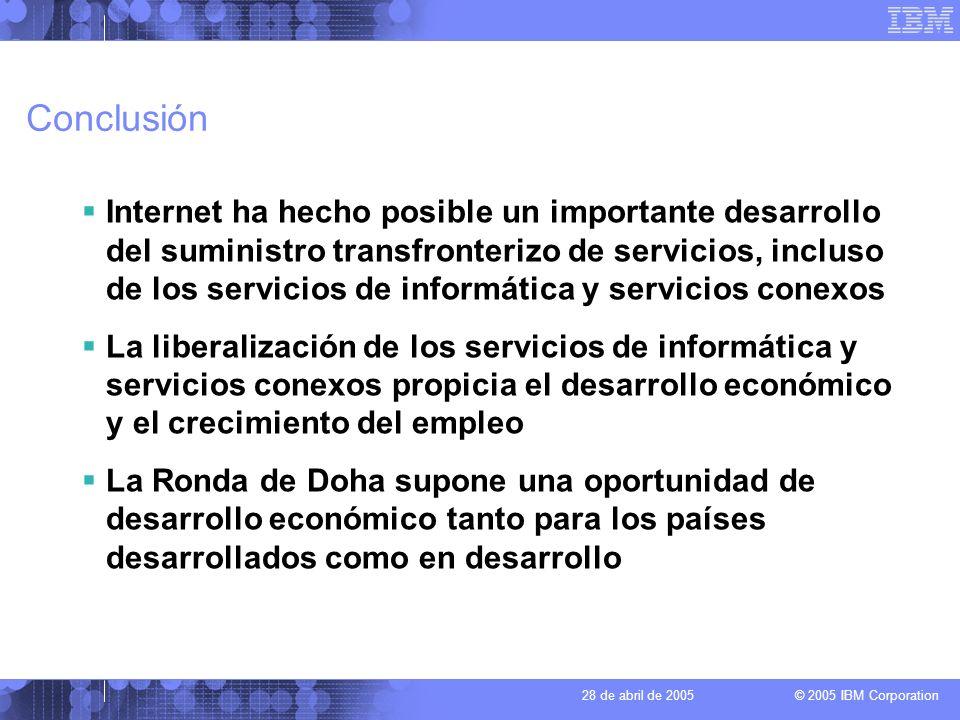 © 2005 IBM Corporation 28 de abril de 2005 Conclusión Internet ha hecho posible un importante desarrollo del suministro transfronterizo de servicios,