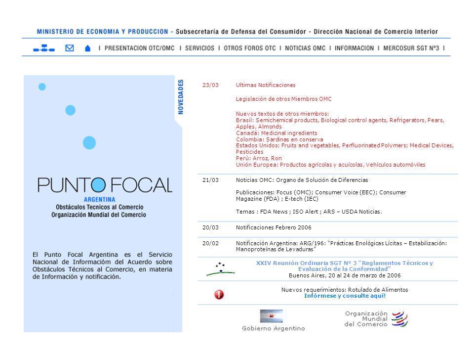 23/03Ultimas Notificaciones Legislación de otros Miembros OMC Nuevos textos de otros miembros: Brasil: Semichemical products, Biological control agent
