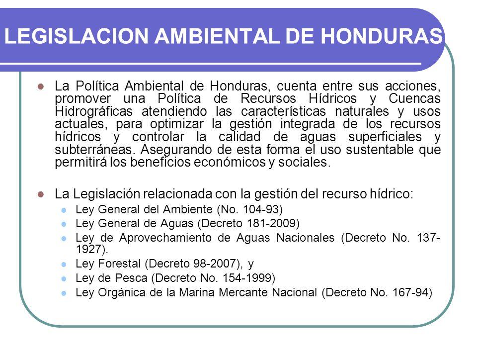 LEGISLACION AMBIENTAL DE HONDURAS La Política Ambiental de Honduras, cuenta entre sus acciones, promover una Política de Recursos Hídricos y Cuencas H