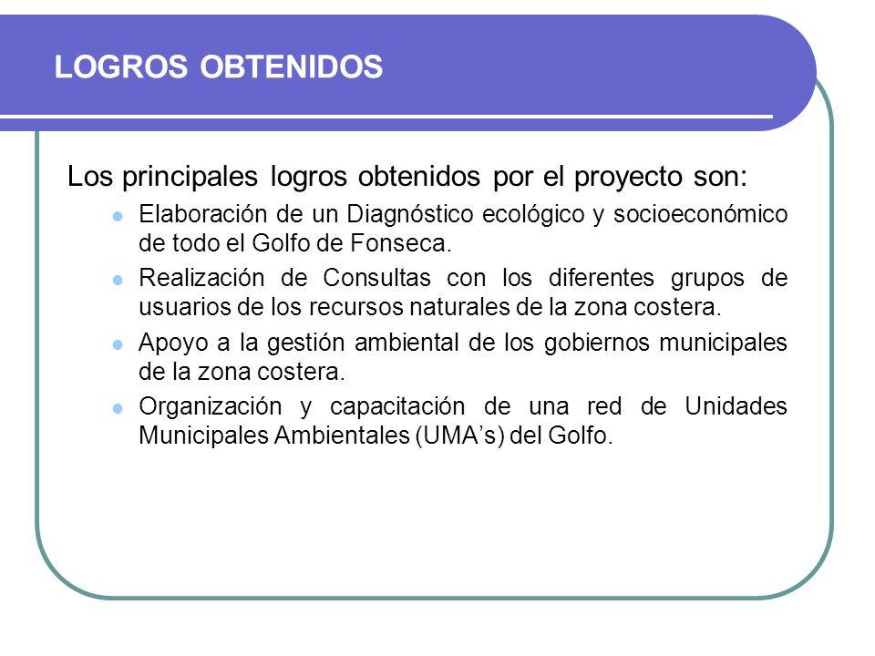 Los principales logros obtenidos por el proyecto son: Elaboración de un Diagnóstico ecológico y socioeconómico de todo el Golfo de Fonseca. Realizació