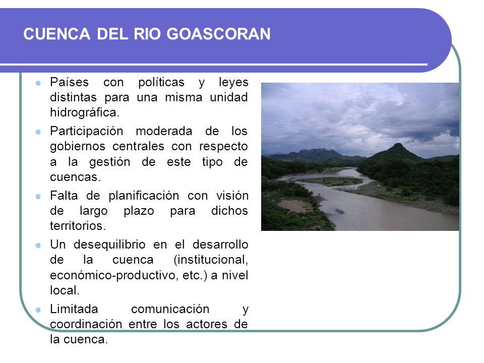 Países con políticas y leyes distintas para una misma unidad hidrográfica. Participación moderada de los gobiernos centrales con respecto a la gestión