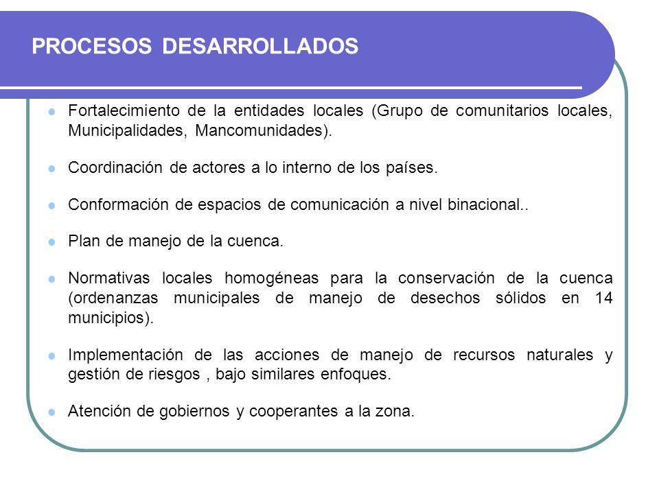 PROCESOS DESARROLLADOS Fortalecimiento de la entidades locales (Grupo de comunitarios locales, Municipalidades, Mancomunidades). Coordinación de actor
