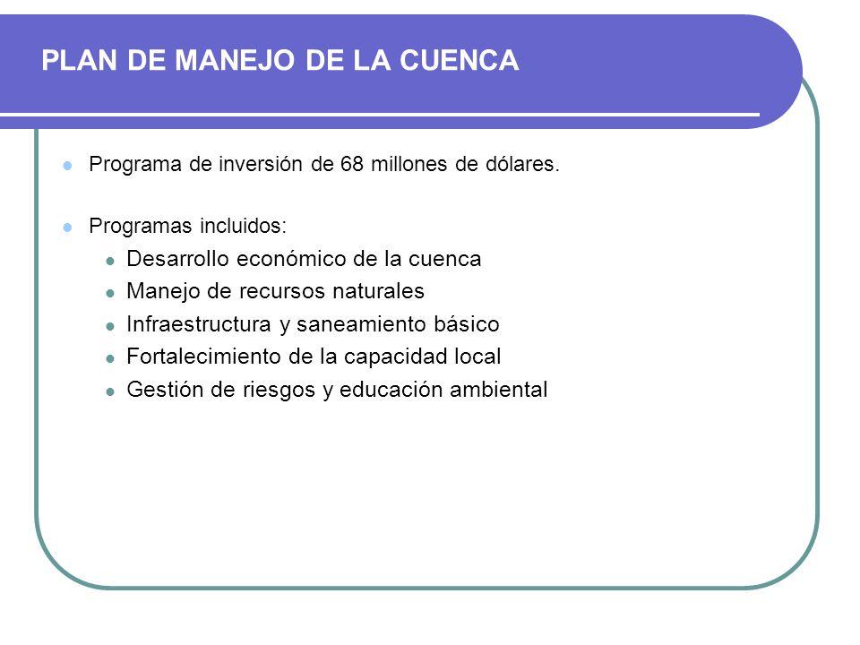 PLAN DE MANEJO DE LA CUENCA Programa de inversión de 68 millones de dólares. Programas incluidos: Desarrollo económico de la cuenca Manejo de recursos
