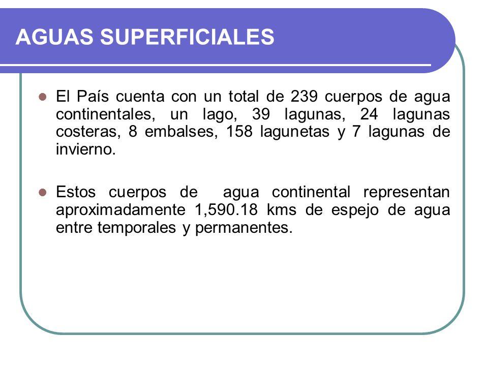 AGUAS SUPERFICIALES El País cuenta con un total de 239 cuerpos de agua continentales, un lago, 39 lagunas, 24 lagunas costeras, 8 embalses, 158 lagune