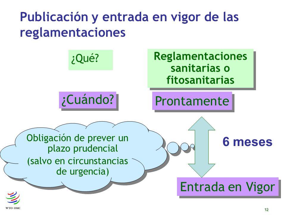 12 Publicación y entrada en vigor de las reglamentaciones ¿Qué.