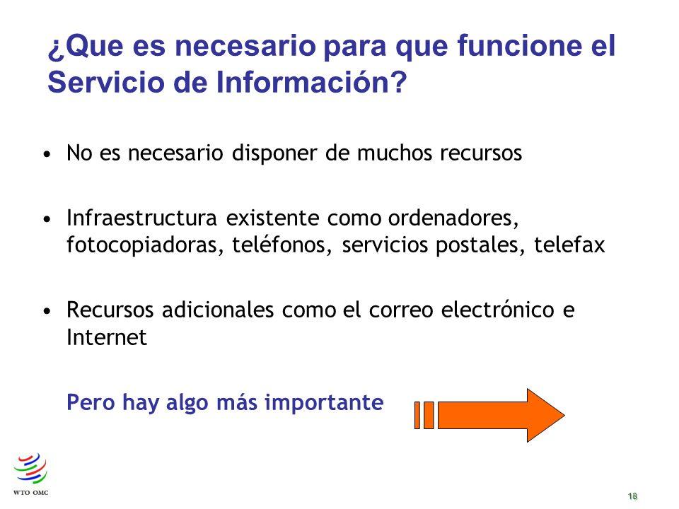 18 ¿Que es necesario para que funcione el Servicio de Información.