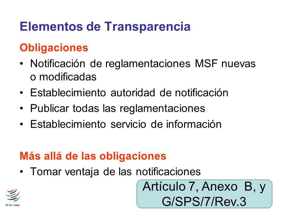4 Elementos de Transparencia Obligaciones Notificación de reglamentaciones MSF nuevas o modificadas Establecimiento autoridad de notificación Publicar todas las reglamentaciones Establecimiento servicio de información Más allá de las obligaciones Tomar ventaja de las notificaciones Artículo 7, Anexo B, y G/SPS/7/Rev.3