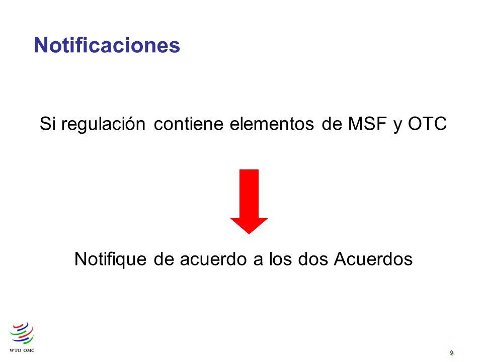 9 Si regulación contiene elementos de MSF y OTC Notifique de acuerdo a los dos Acuerdos Notificaciones