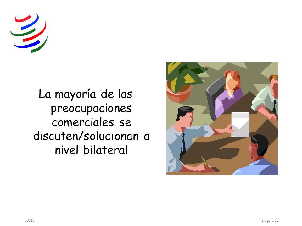 OMCPágina 12 La mayoría de las preocupaciones comerciales se discuten/solucionan a nivel bilateral
