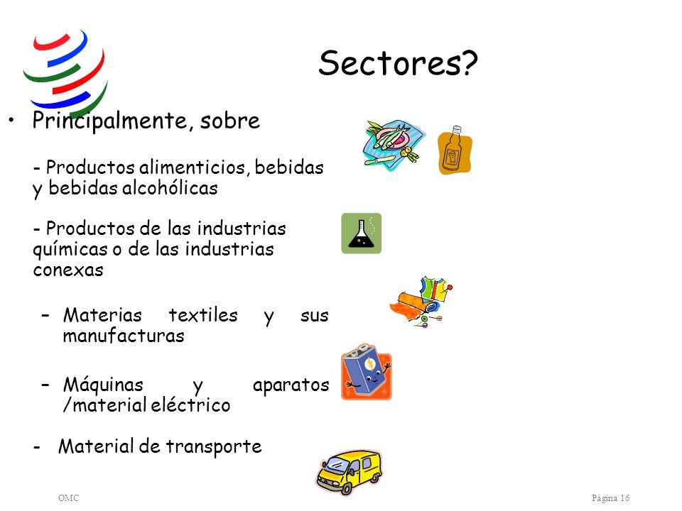 OMCPágina 16 Sectores? Principalmente, sobre - Productos alimenticios, bebidas y bebidas alcohólicas - Productos de las industrias químicas o de las i