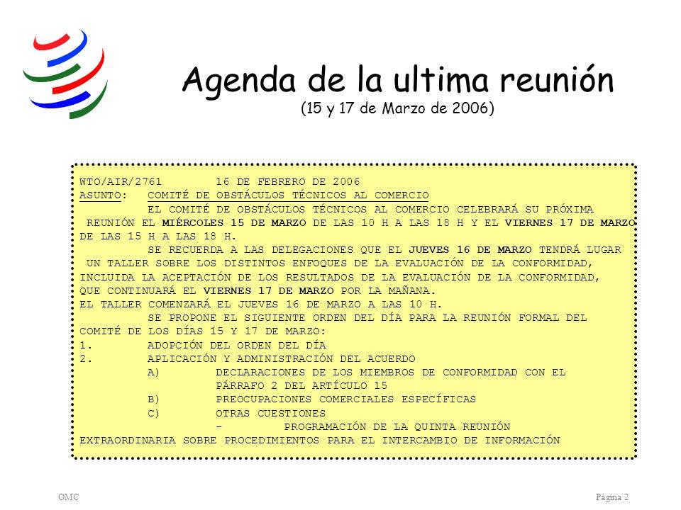 OMCPágina 3 WTO/AIR/276116 DE FEBRERO DE 2006 ASUNTO:COMITÉ DE OBSTÁCULOS TÉCNICOS AL COMERCIO EL COMITÉ DE OBSTÁCULOS TÉCNICOS AL COMERCIO CELEBRARÁ SU PRÓXIMA REUNIÓN EL MIÉRCOLES 15 DE MARZO DE LAS 10 H A LAS 18 H Y EL VIERNES 17 DE MARZO DE LAS 15 H A LAS 18 H.