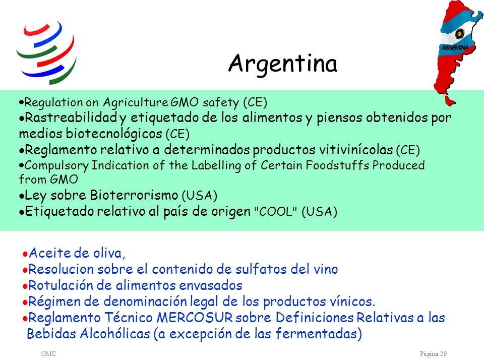 OMCPágina 29 Argentina Aceite de oliva, Resolucion sobre el contenido de sulfatos del vino Rotulación de alimentos envasados Régimen de denominación l