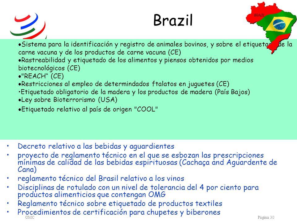 OMCPágina 30 Brazil Decreto relativo a las bebidas y aguardientes proyecto de reglamento técnico en el que se esbozan las prescripciones mínimas de ca