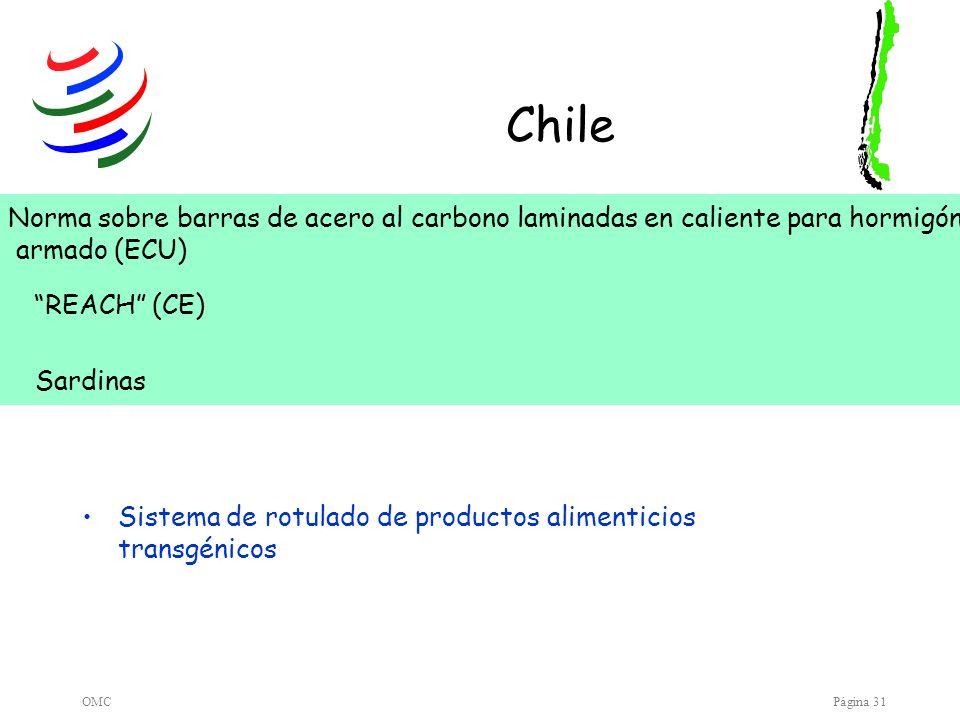 OMCPágina 31 Chile Sistema de rotulado de productos alimenticios transgénicos Norma sobre barras de acero al carbono laminadas en caliente para hormig