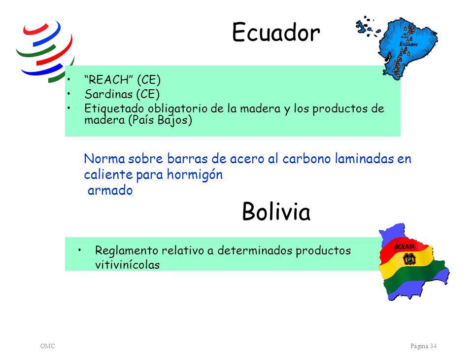 OMCPágina 34 Ecuador REACH (CE) Sardinas (CE) Etiquetado obligatorio de la madera y los productos de madera (País Bajos) Norma sobre barras de acero a