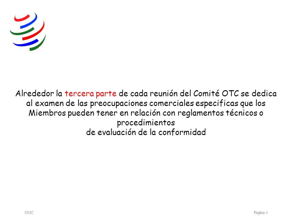 OMCPágina 4 Alrededor la tercera parte de cada reunión del Comité OTC se dedica al examen de las preocupaciones comerciales especificas que los Miembr