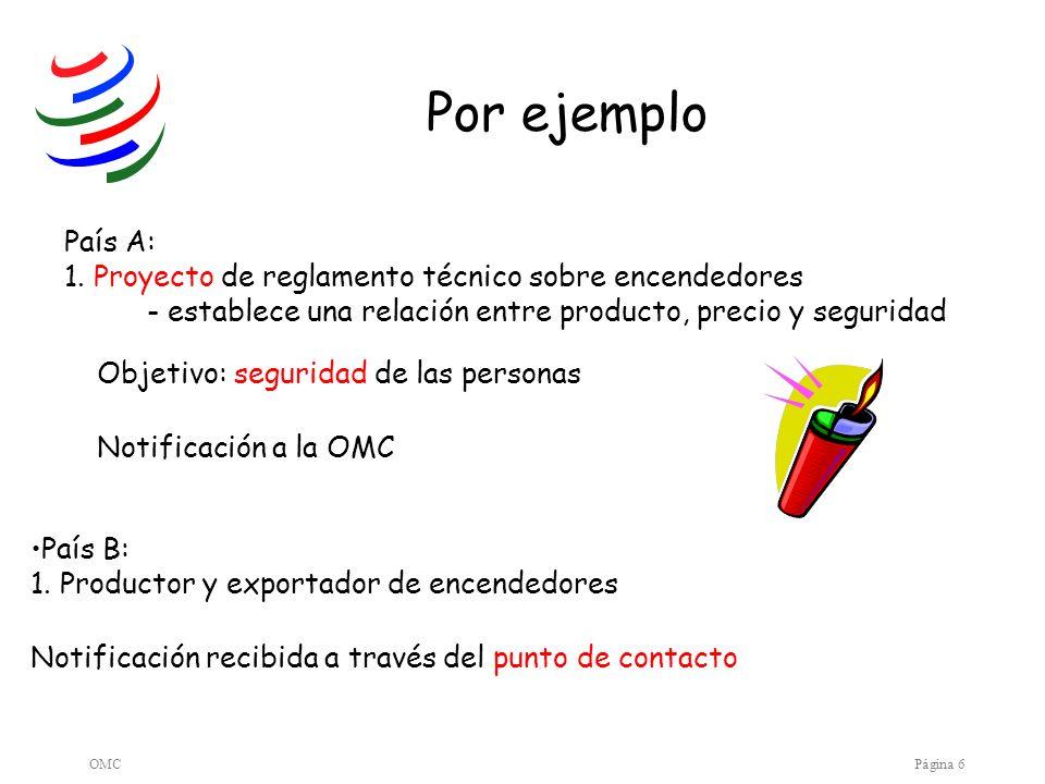 OMCPágina 6 Por ejemplo País A: 1. Proyecto de reglamento técnico sobre encendedores - establece una relación entre producto, precio y seguridad Objet
