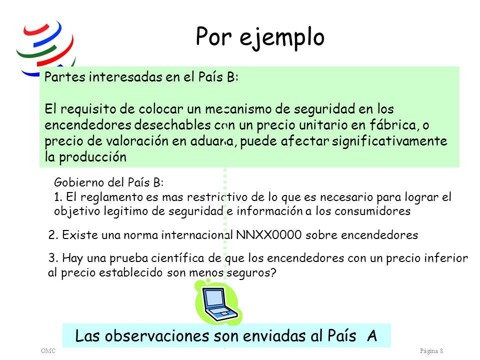 OMCPágina 9 El País A contesta que las observaciones serán tomadas en cuenta Los productores de encendedores en el País B demandan a sus Autoridades de hacer algo..