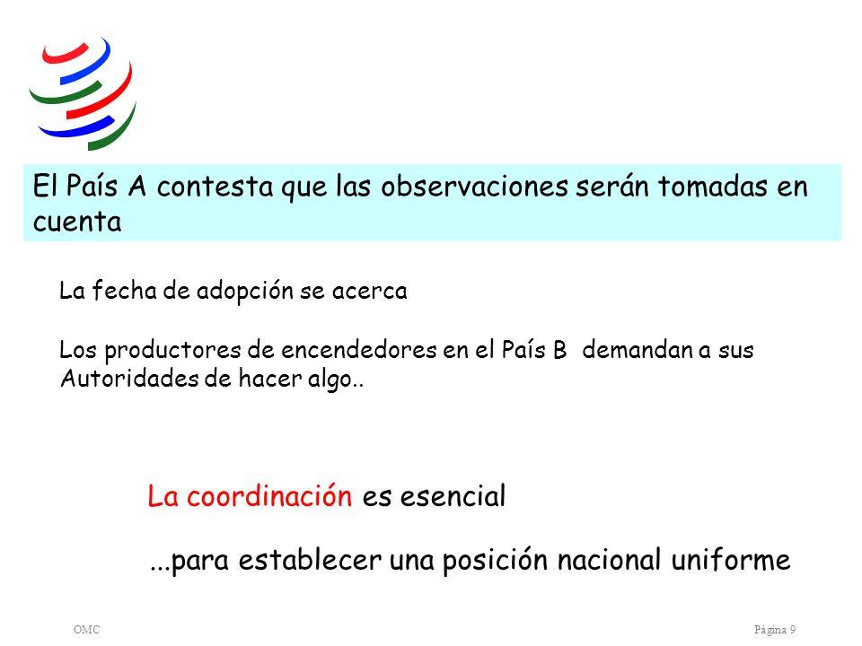 OMCPágina 10 El País B plantea la cuestión a nivel multilateral en el Comité OTC El País A señala que transmitirá los comentarios a los expertos/reguladores Los Países C, D et H comparten las preocupaciones expresadas