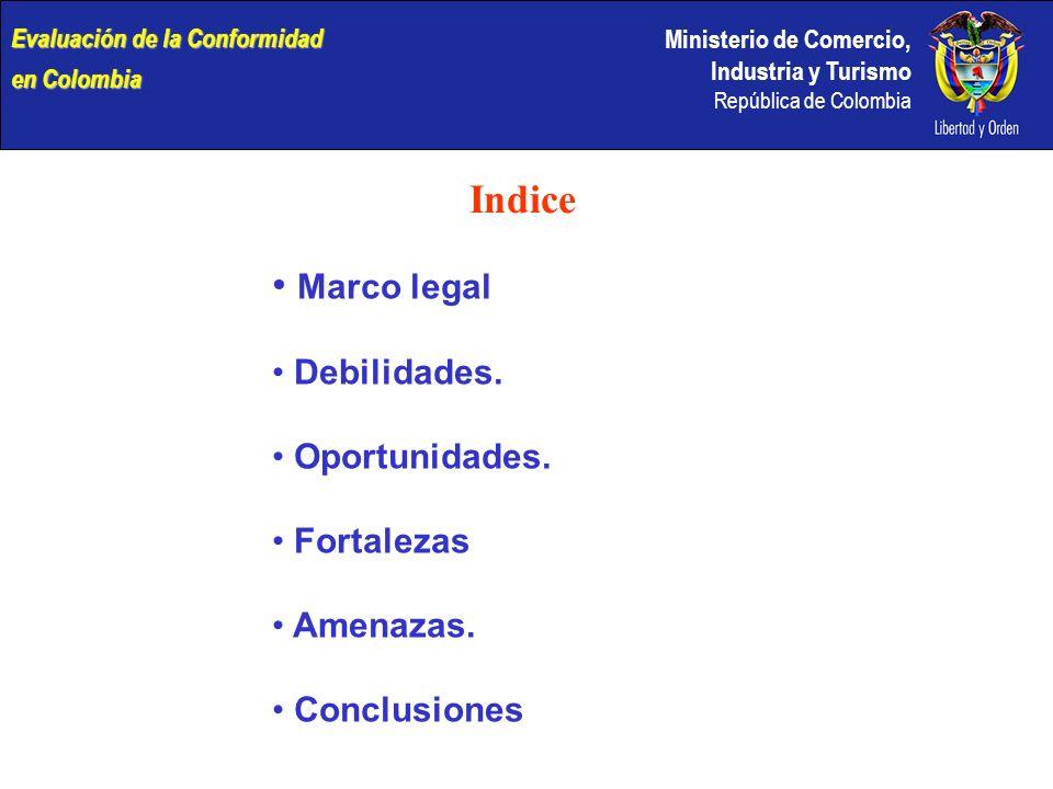 Ministerio de Comercio, Industria y Turismo República de Colombia Indice Marco legal Debilidades. Oportunidades. Fortalezas Amenazas. Conclusiones Eva