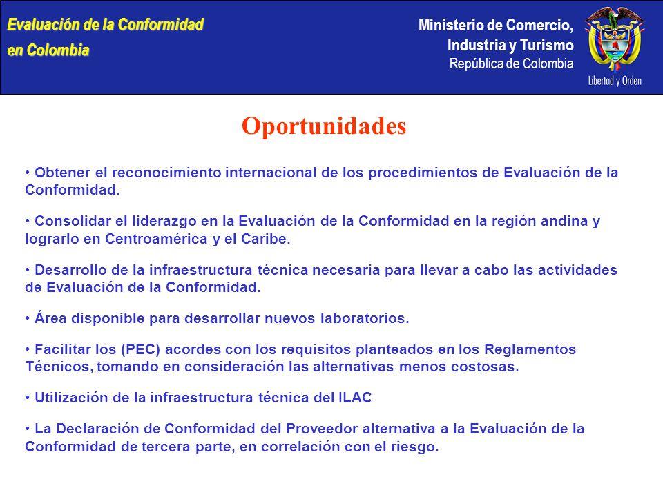 Ministerio de Comercio, Industria y Turismo República de Colombia Oportunidades Obtener el reconocimiento internacional de los procedimientos de Evalu