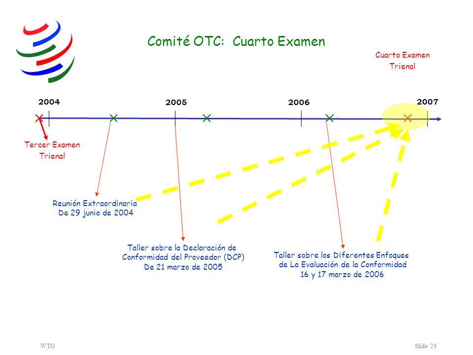 WTOSlide 26 20042007 20052006 Tercer Examen Trienal Taller sobre la Declaración de Conformidad del Proveedor (DCP) De 21 marzo de 2005 Reunión Extraordinaria De 29 junio de 2004 Taller sobre los Diferentes Enfoques de La Evaluación de la Conformidad 16 y 17 marzo de 2006 Comité OTC: Cuarto Examen Cuarto Examen Trienal