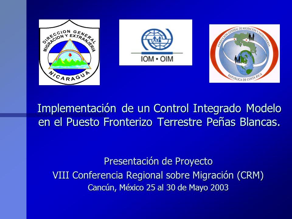 Objetivo General del Proyecto n n Contribuir al proceso de modernización de la gestión migratoria en el puesto fronterizo terrestre de Peñas Blancas, a través de la facilitación e integración fronteriza, estableciendo un control integrado modelo en territorio nicaragüense.