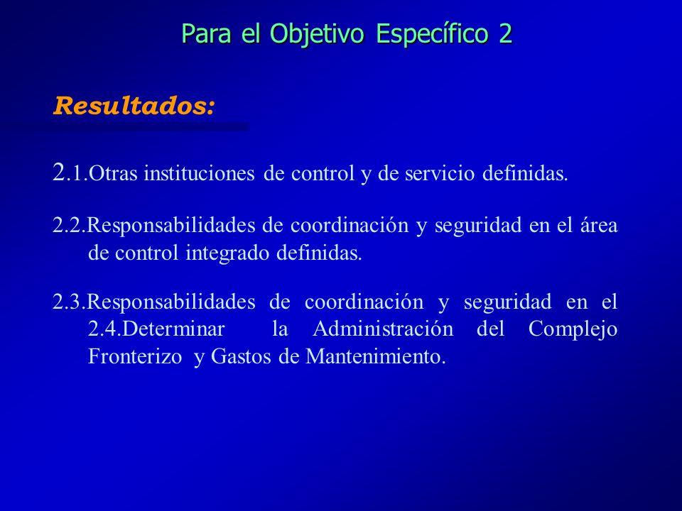 Para el Objetivo Específico 2 Resultados: 2.1.Otras instituciones de control y de servicio definidas. 2.2.Responsabilidades de coordinación y segurida