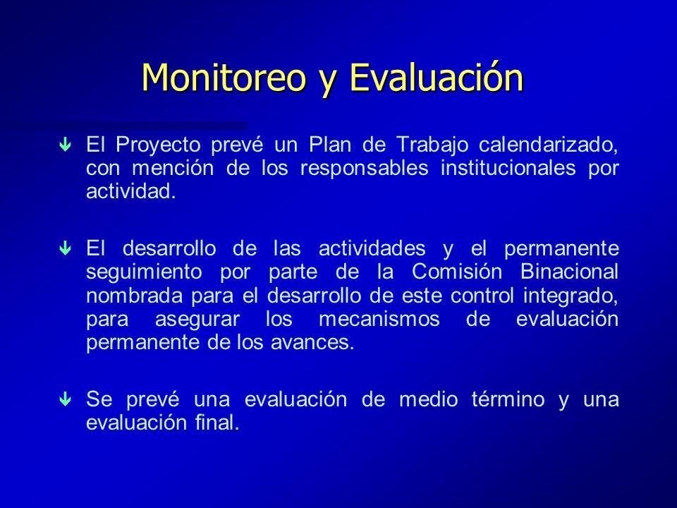 Monitoreo y Evaluación ê ê El Proyecto prevé un Plan de Trabajo calendarizado, con mención de los responsables institucionales por actividad. ê ê El d