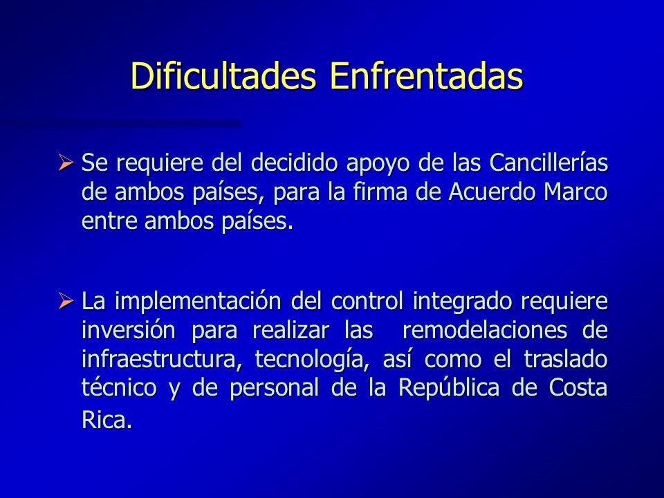 Dificultades Enfrentadas Se requiere del decidido apoyo de las Cancillerías de ambos países, para la firma de Acuerdo Marco entre ambos países. Se req