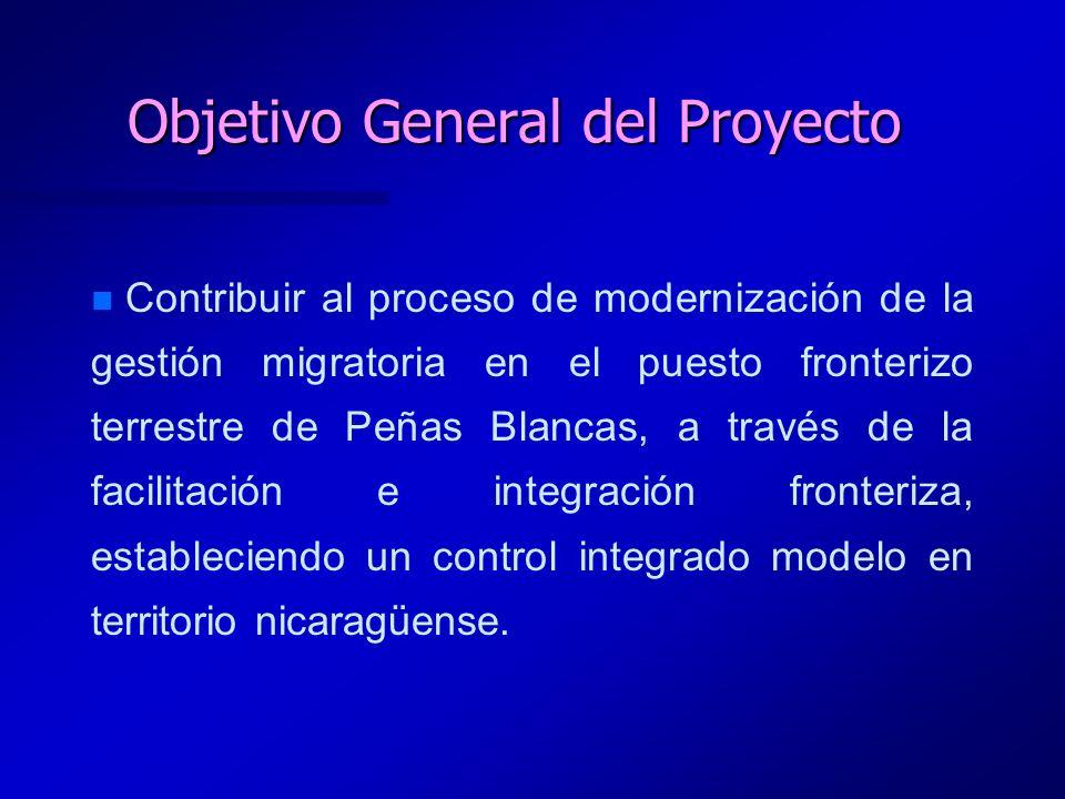 Objetivo General del Proyecto n n Contribuir al proceso de modernización de la gestión migratoria en el puesto fronterizo terrestre de Peñas Blancas,