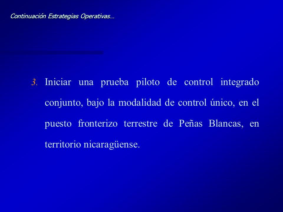 Continuación Estrategias Operativas… 3. 3. Iniciar una prueba piloto de control integrado conjunto, bajo la modalidad de control único, en el puesto f