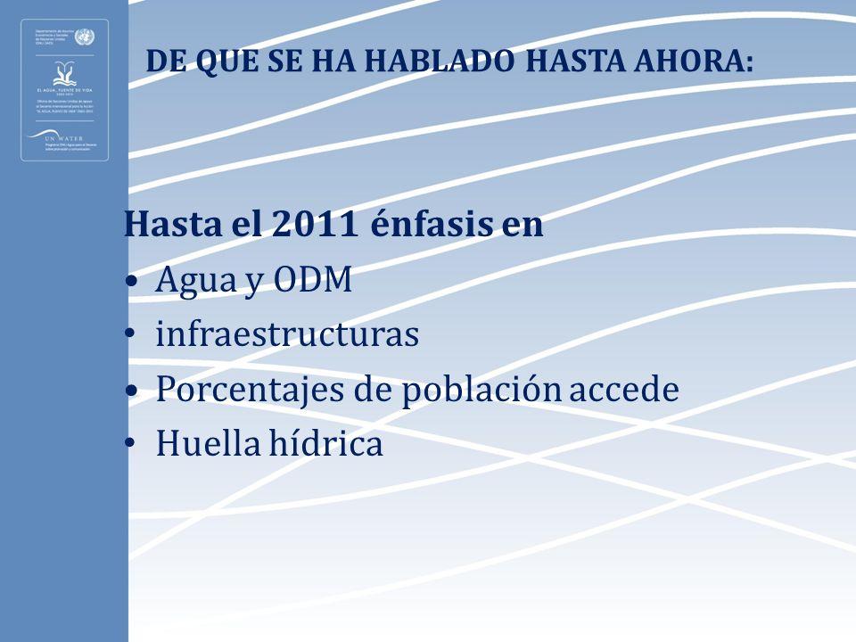 DE QUE SE HA HABLADO HASTA AHORA: Hasta el 2011 énfasis en Agua y ODM infraestructuras Porcentajes de población accede Huella hídrica