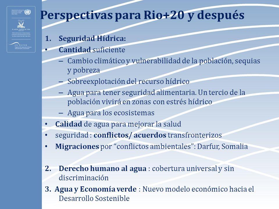 Perspectivas para Rio+20 y después 1.Seguridad Hídrica: Cantidad suficiente – Cambio climático y vulnerabilidad de la población, sequias y pobreza – S
