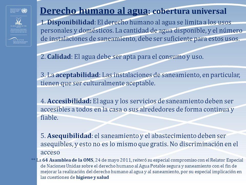 Derecho humano al agua : cobertura universal 1. Disponibilidad: El derecho humano al agua se limita a los usos personales y domésticos. La cantidad de