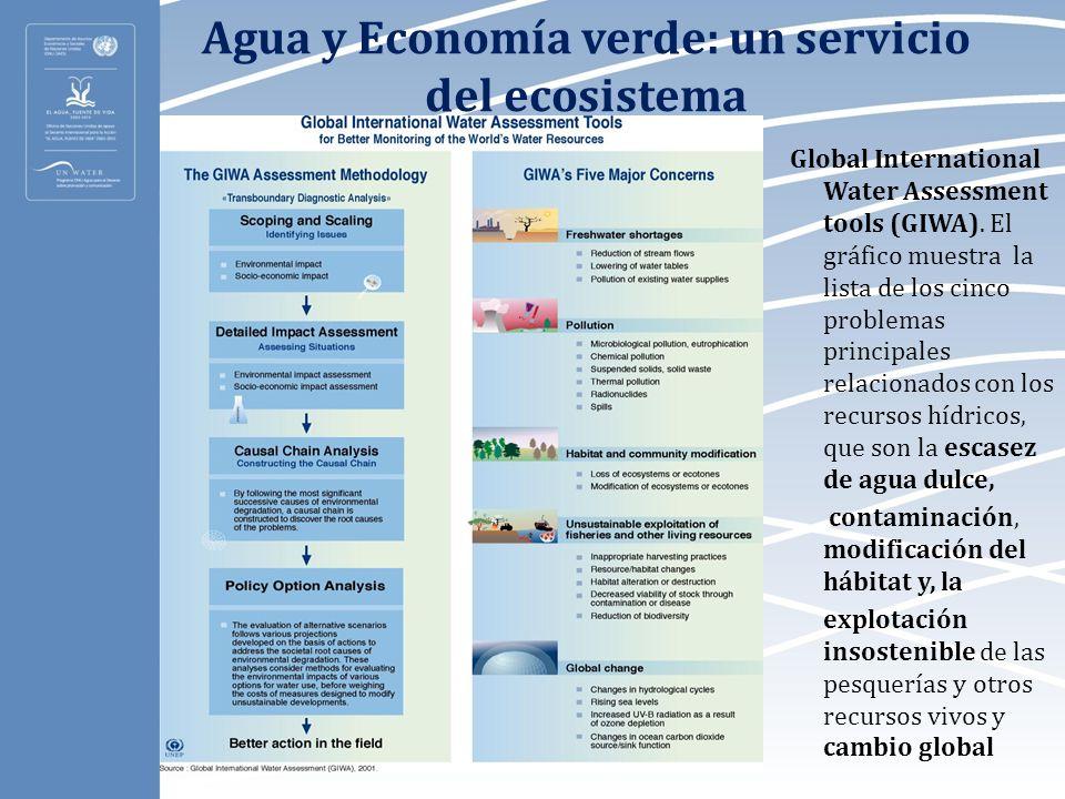 Agua y Economía verde: un servicio del ecosistema Global International Water Assessment tools (GIWA). El gráfico muestra la lista de los cinco problem