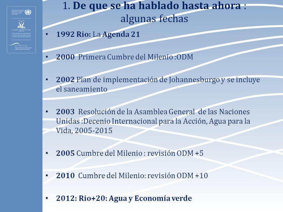 1. De que se ha hablado hasta ahora : algunas fechas 1992 Rio: La Agenda 21 2000 Primera Cumbre del Milenio :ODM 2002 Plan de implementación de Johann