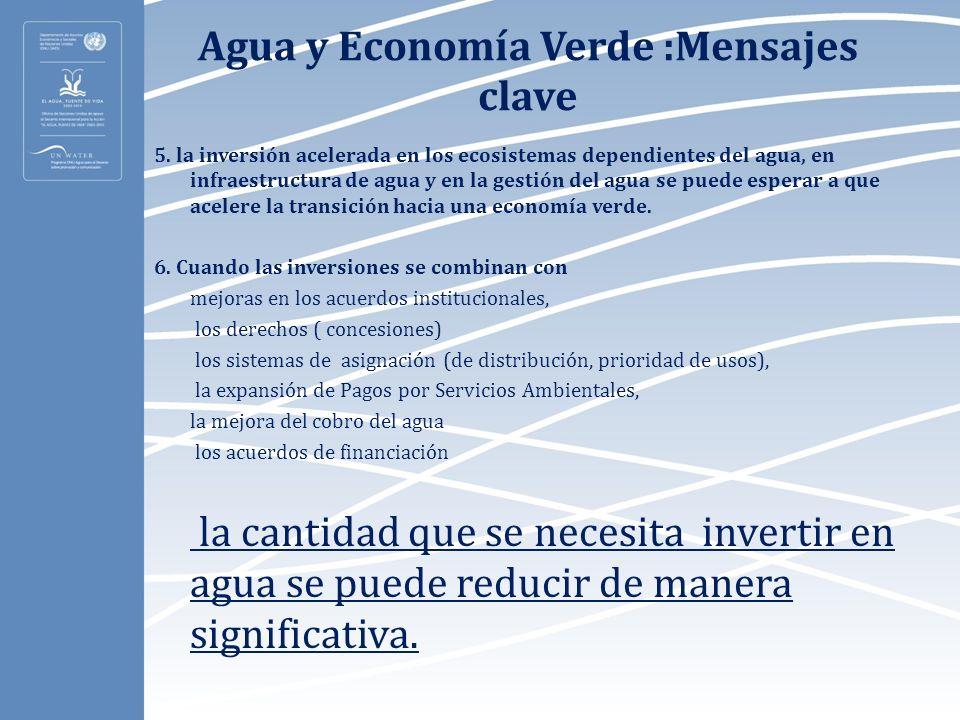 Agua y Economía Verde :Mensajes clave 5. la inversión acelerada en los ecosistemas dependientes del agua, en infraestructura de agua y en la gestión d
