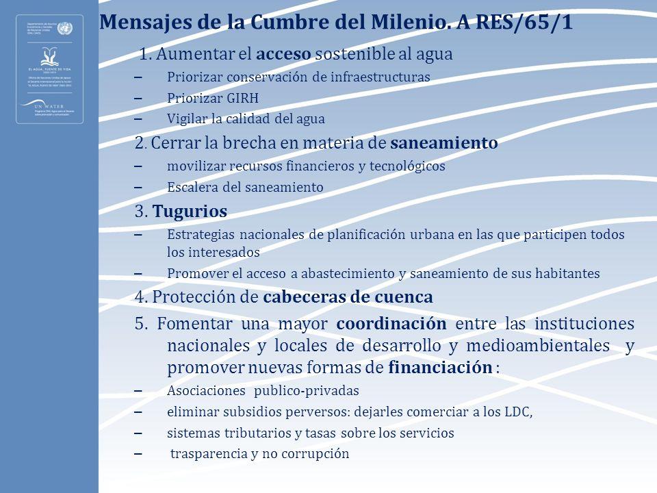 Mensajes de la Cumbre del Milenio. A RES/65/1 1. Aumentar el acceso sostenible al agua – Priorizar conservación de infraestructuras – Priorizar GIRH –