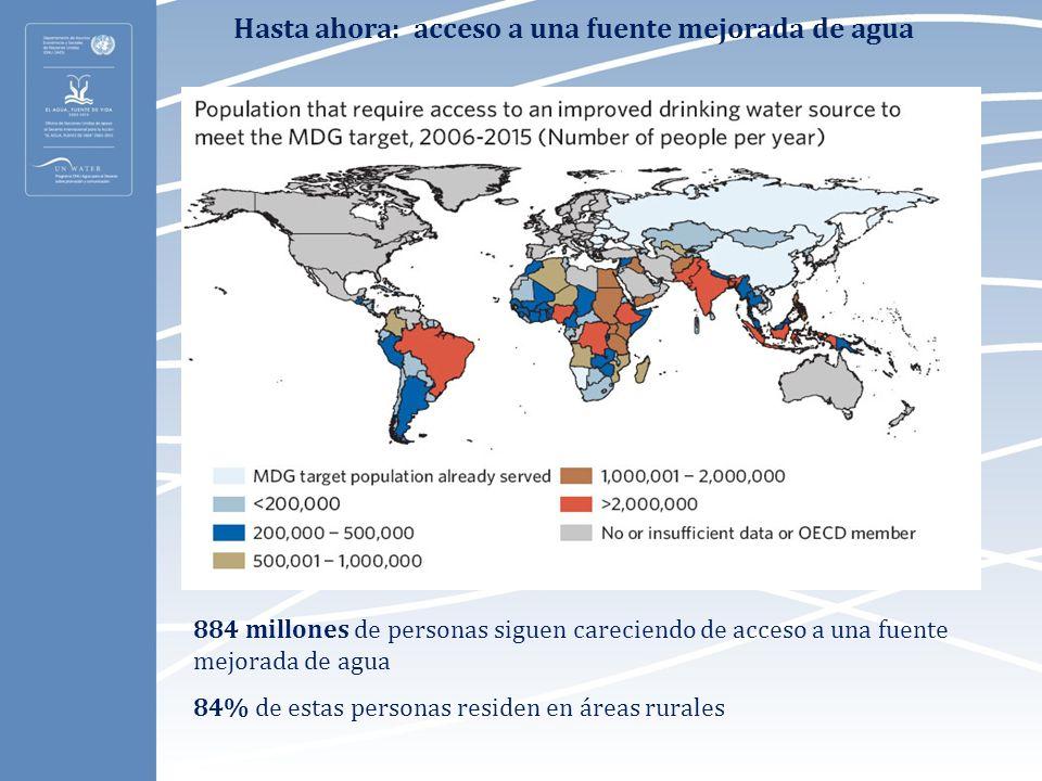 Hasta ahora: acceso a saneamiento básico Entre 1990 y 2006, 1.100 millones de personas lograron acceso a un sistema básico de saneamiento 2.600 millones de personas alrededor del mundo siguen careciendo de acceso a un sistema básico de saneamiento 1.200 millones de personas ( el 18% de la población mundial) defecan al aire libre