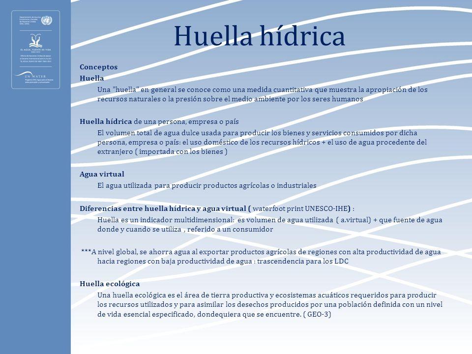Huella hídrica Conceptos Huella Una